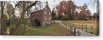 Panoramic Kerr Grist Mill Landscape Canvas Print by Adam Jewell