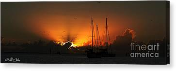 Panoramic Marine Splendor - Sunset. Canvas Print by Geoff Childs