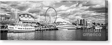 Panoramic Navy Pier Black And White Photo Canvas Print by Paul Velgos