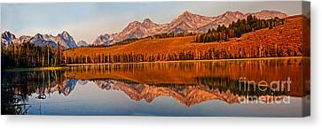Haybales Canvas Print - Panoramic Of Little Redfish Lake by Robert Bales