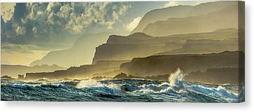 Panoramic Of Molokais North Shore Sea Canvas Print by Richard A Cooke III