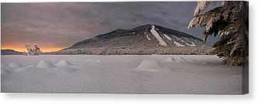 Panoramic Of Shawnee Peak And Moose Pond Canvas Print by Darylann Leonard Photography