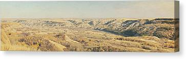 Panoramic Of The Badlands Of The Red Canvas Print by Roberta Murray
