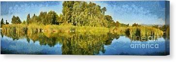 Panoramic Painting Of Ducks Lake Canvas Print by George Atsametakis