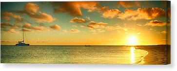 Panoramic Photo Sunrise At Monky Mia Canvas Print by Yew Kwang