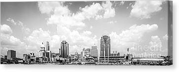 Panoramic Picture Of Cincinnati Skyline Canvas Print by Paul Velgos