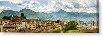 Panoramic View From Barga In Italy Of The Appeninies Canvas Print by Peter Noyce