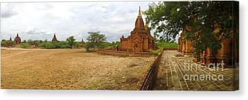 Canvas Print featuring the photograph Panoramic View Next To Dhammayazika Pagoda Built In 1196 By King Narapatisithu by Ralph A  Ledergerber-Photography