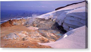 Panoramic View Of A Geothermal Area Canvas Print by Panoramic Images