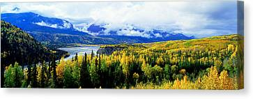Panoramic View Of A Landscape, Yukon Canvas Print by Panoramic Images