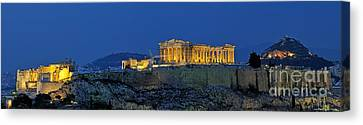 Panoramic View Of Acropolis Of Athens Canvas Print by George Atsametakis