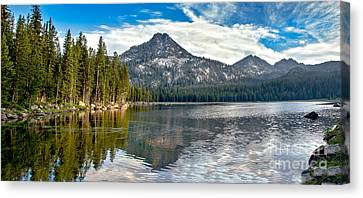 Haybale Canvas Print - Panoramic View Of Anthony Lake by Robert Bales