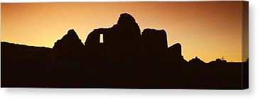 Panoramic View Of Chaco Canyon Indian Canvas Print by Panoramic Images