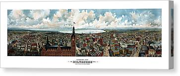 Panoramic View Of Milwaukee Wisconsin Canvas Print by War Is Hell Store