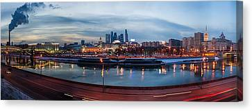 Panoramic View Of Moscow River - Kiev Railway Station And Square Of Europe - Featured 3 Canvas Print by Alexander Senin