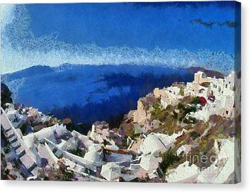 Thira Canvas Print - Panoramic View Of Oia Town by George Atsametakis