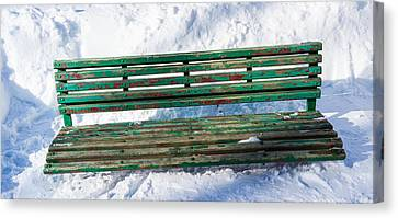 Panoramic View Of Park Bench - Featured 2 Canvas Print