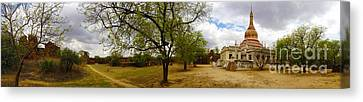 Panoramic View Of Small Monastery Compound Near West Pwazaw Village Bagan Burma Canvas Print by Ralph A  Ledergerber-Photography