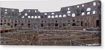 Panoramic View Of The Colosseum Canvas Print by Allan Levin