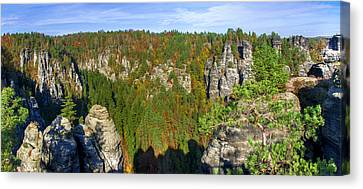 Panoramic View Of The Elbe Sandstone Mountains Canvas Print