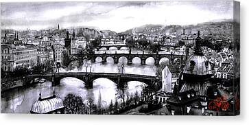 Panoramic View To Prague Canvas Print by Dmitry Koptevskiy