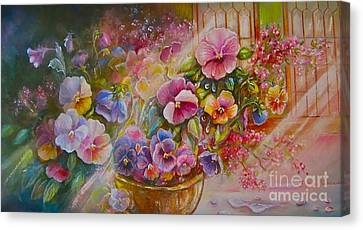 Pansies In Gold Canvas Print by Patricia Schneider Mitchell