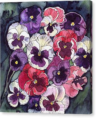 Canvas Print featuring the painting Pansies by Katherine Miller