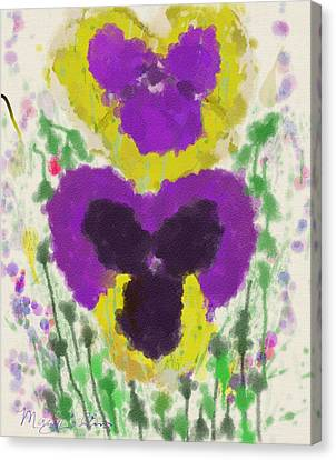 Canvas Print featuring the digital art Pansies by Mary M Collins