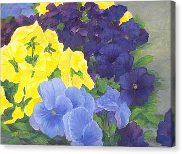 Pansy Garden Bright Colorful Flowers Painting Pansies Floral Art Artist K. Joann Russell Canvas Print