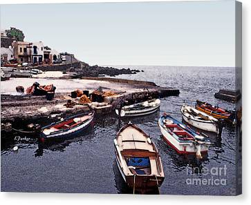 Pantelleria Boats Canvas Print by Linda  Parker
