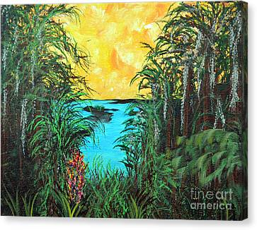 Canvas Print featuring the painting Panther Island In The Bayou by Alys Caviness-Gober