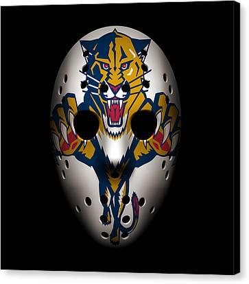 Florida Panther Canvas Print - Panthers Goalie Mask by Joe Hamilton