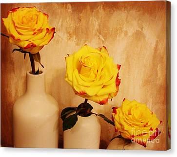 Digital Touch Canvas Print - Papa Mama Baby Roses by Marsha Heiken