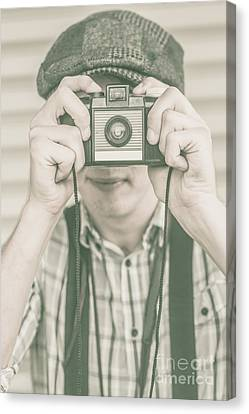 Paparazzi Press Photographer Taking A Picture Canvas Print by Jorgo Photography - Wall Art Gallery