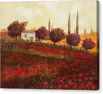 Papaveri In Toscana Canvas Print by Guido Borelli