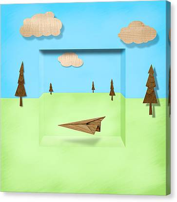 Paper Airplanes Canvas Print - Paper Airplanes Of Wood 11 by YoPedro