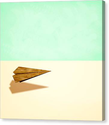 Paper Airplanes Canvas Print - Paper Airplanes Of Wood 9 by YoPedro