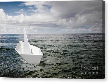 Paper Boat Canvas Print by Carlos Caetano
