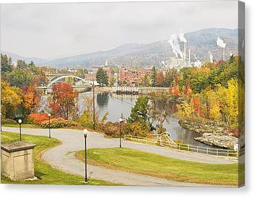 Paper Mill And Fall Colors In Rumford Maine Canvas Print by Keith Webber Jr