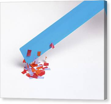 Paper Picked Up By Charged Ruler Canvas Print by Dorling Kindersley/uig