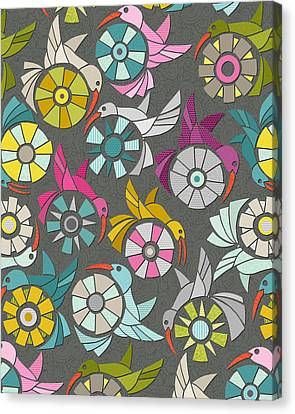 Paper Sunbirds Graphite Canvas Print