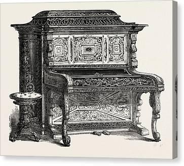 Papier Mache Pianoforte Canvas Print by A. Dimoline, Bristol, English, 19th Century