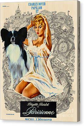 Papillon Art - Una Parisienne Movie Poster Canvas Print by Sandra Sij