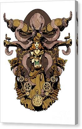 Octopus Canvas Print - Papillon Mecaniques by Brian Kesinger