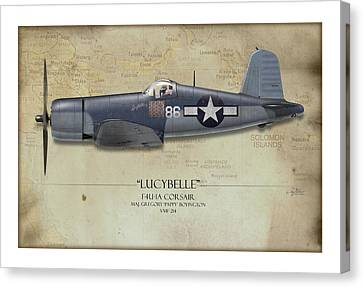 Pappy Boyington F4u Corsair - Map Background Canvas Print by Craig Tinder