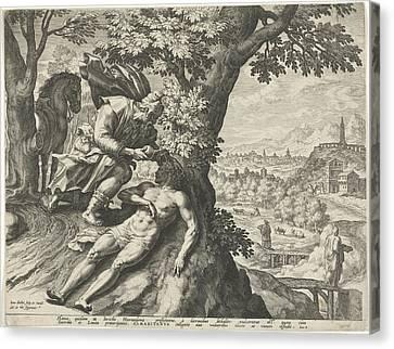 Parable Of The Good Samaritan, Johann Sadeler Canvas Print by Quint Lox