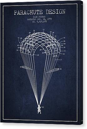 Parachute Design Patent From 1998 - Navy Blue Canvas Print