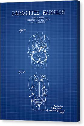 Parachute Harness Patent From 1922 - Blueprint Canvas Print by Aged Pixel
