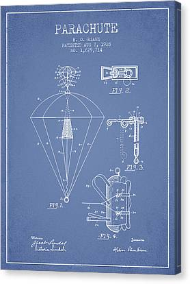 Parachute Patent From 1928 - Light Blue Canvas Print by Aged Pixel