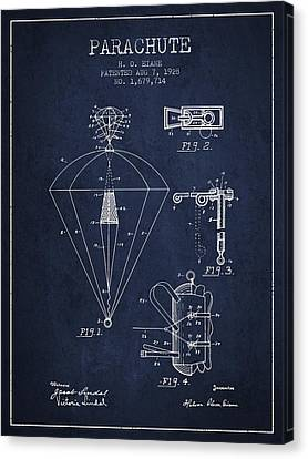 Parachute Patent From 1928 - Navy Blue Canvas Print by Aged Pixel